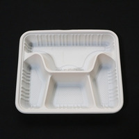 Microwave Biodegradable Cornstarch Food Tray Compartments Disposable Lunch Tray
