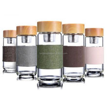 BPA-Free Borosilicate Glass Water Bottle with Bamboo Tea Filter Infuser Flax Sleeve 400ML