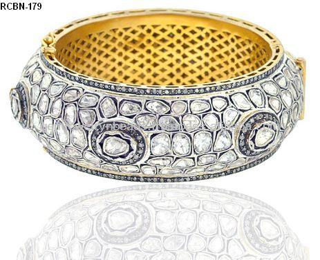 High Quality 14k Gold Wholesaler Supply 925 Sterling Silver Rose Cut Diamond Bangle