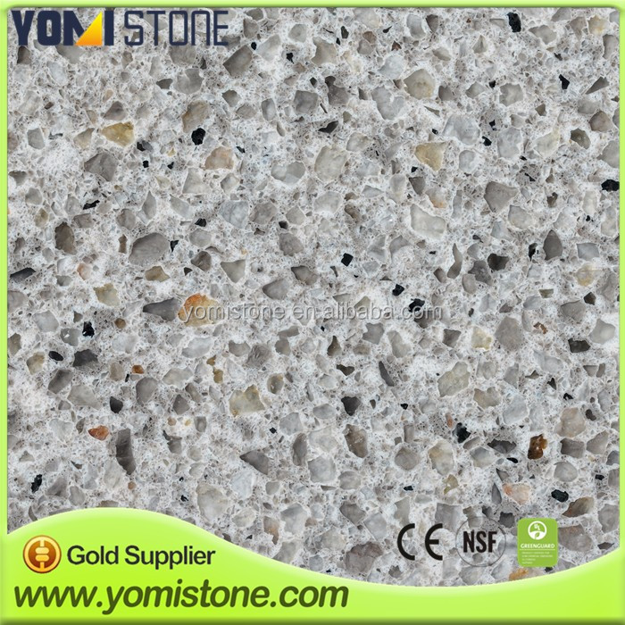 Artificial Engineered Stone Crystal White Sparkle Quartz Stone Big Slab