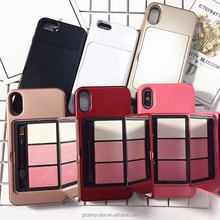 Makeup built-in Eyeshadow Palette Girly Printed Soft TPU frame Phone Cases For iPhone X Back Cover