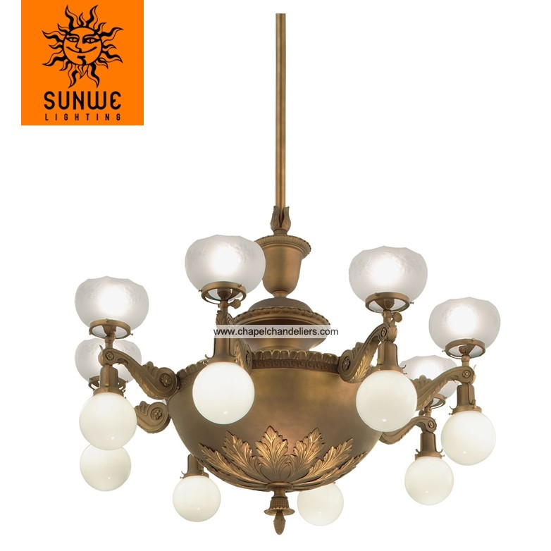 Ballroom classic design chandelier with white shade in bronze color