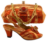 Shinning orange shoes matching bag party Italian shoes with matching bag new design MM1036 ladies matching shoe and bag