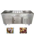 Factory direct sale thai ice cream machine commercial frozen 2 pan fry roll machine