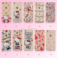 Cute Pink Hello Kitty Painted TPU Transparent Printing Mobile Phone Shell Cover Case For Apple iPhone 5/6 4.7/6 plus 5.5