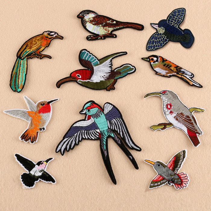 A flock of Birds Embroidery Iron on patch decolabel jacket sticker