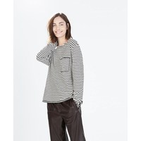 long sleeve comfortable striped ladies t shirt with pocket