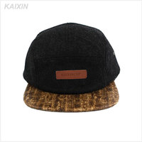 custom wool 5 panel leahter patch logo wooden brim snapback hat cap with leather strap back