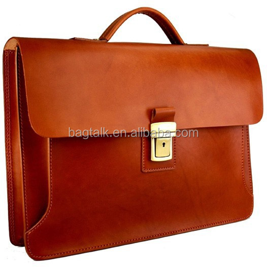 Genuine Leather Briefcase Men Vintage Shoulder Strap (BF0232)