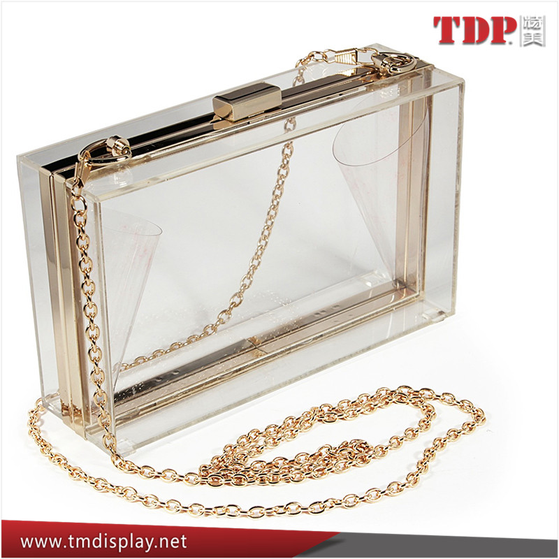 Manufacturer Transparent Clear Acrylic Perspex Box Clutch, Clear Clutch Bags with Chain