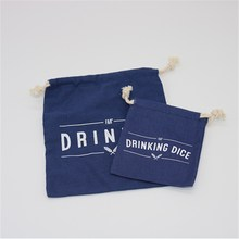 Factory Eco Blue Fabric Canvas Pouch With Drawstring Special Logo
