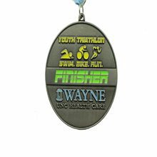 Custom Metal Antique Plated Youth Swim/Bike/Run Medal