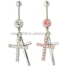 316L Surgical steel belly body piercing Navel bar dangle Cross Belly rings