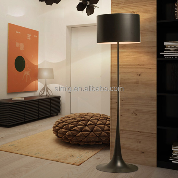 modern decorative black colour E27 bulb aluminum material floor lamp for hotel