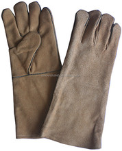Heat resistant welding cow long cuff leather gloves