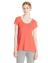 Womens pullover tee with scoop neck with cross over key hole detail in back
