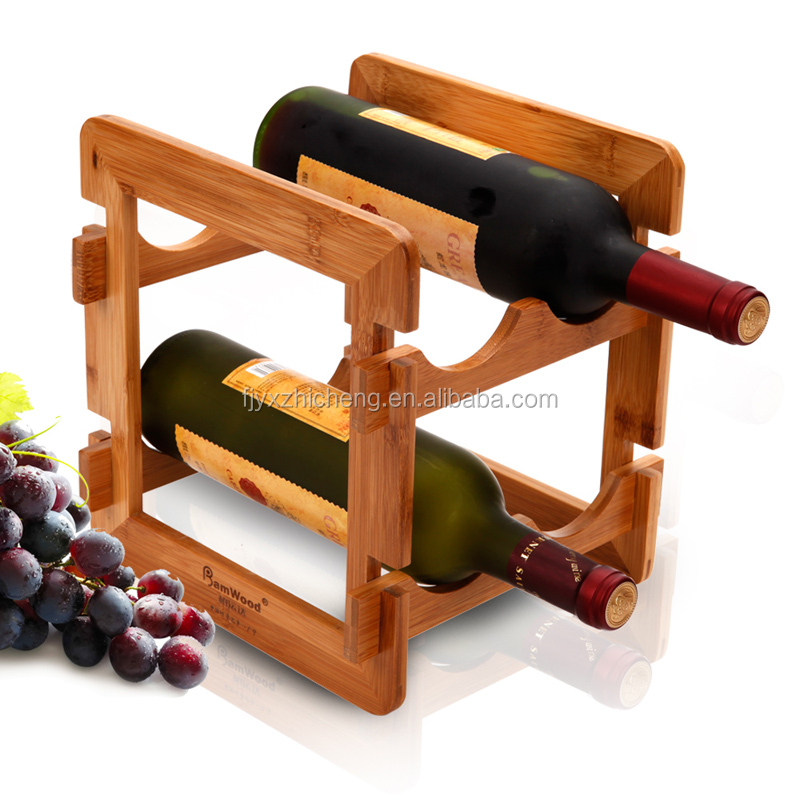 Natural Bamboo Countertop Wine Rack 4-bottles easy to Assembly