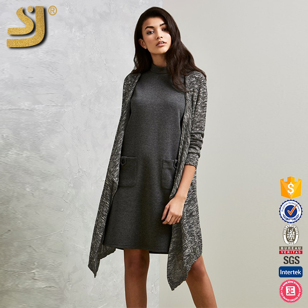 Wholesale custom 2016 fashion cashmere wool knitted long sleeve women long sweater cardigan