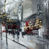 Handmade impressionist Paris street scenes painting, canvas painting of trees with yellow leaves and people on the street
