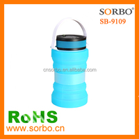 Solar Camping Lantern Collapsible Silicone Storage Bottle Jar, USB Rechargeable & Waterproof LED Hanging Lamp