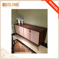Contempory Style Wood and Brass Living Room TV Stand, Quilting Design Leather Door TV Cabinet