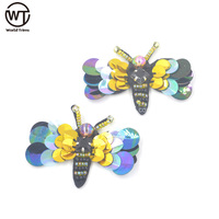 Hot sale new colorful dragonfly motifs sequin and beaded applique for clothing accessory