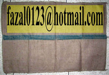"HEAVY CESS JUTE BAG 43""X29"" BAG WT - 2.50LBS, PXS, 8X9, HD/OHDS, SAFETY SEWING, 2"" GREEN STRIPE IN THE MIDDLE OF THE BAGS"