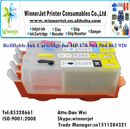 4 Colors Empty Refill Ink Cartridge for HP 862 Ink Cartridge