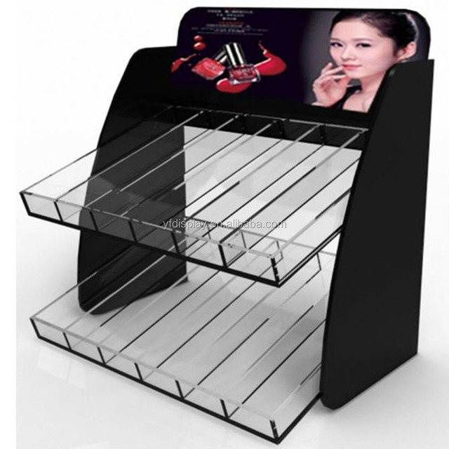 popular acrylic makeup mac cosmetic display stand for nail polish