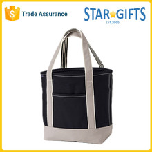 Large Eco Two-Tone Custom Printed Canvas Grocery Tote Bags With Front Pocket