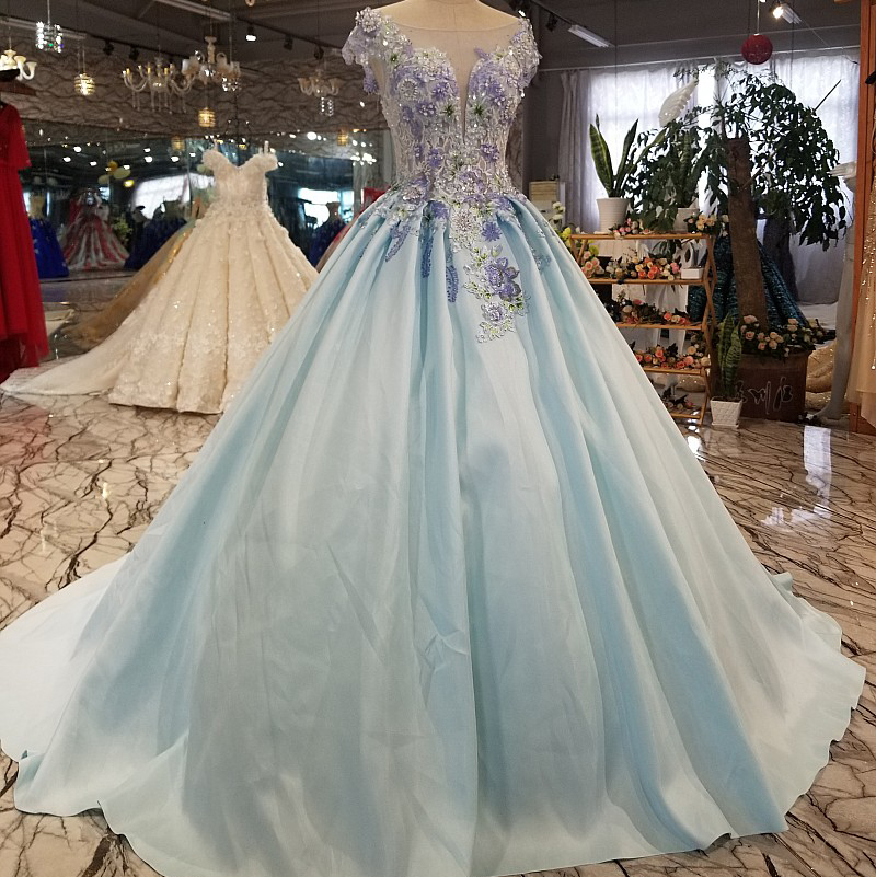 LS1277 light blue real sample satin high evening dress online shopping for woman