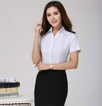 Top Quality Women Elegant Formal White Blouses Short Sleeve Dress Shirt