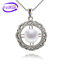 FEIRUN 9mm button AAA shape nice white single pearl pendant, natural pearl pendant, pearl pendant jewelry