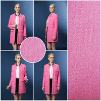 Luxury Women Pink Black Wool Cashmere