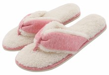 Women's Comfort French Terry Plush Lining Memory Foam Spa Thong Flip Flops House Indoor Slippers