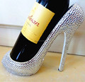 decorative high quality high heel shoes shape wine rack with rhinestone