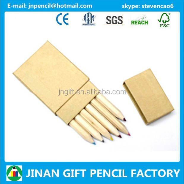 6 pc Mini Coloured Pencils in Recycled box/Pencil Supplier