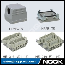 nqqk (HDC-HE-032-01S) 32 pin Screw spring crimp terminal Inserts surface mouned heavy duty sockets connector