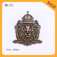 MB51 Custom metal lion logo for garment,handbag logo metal plate