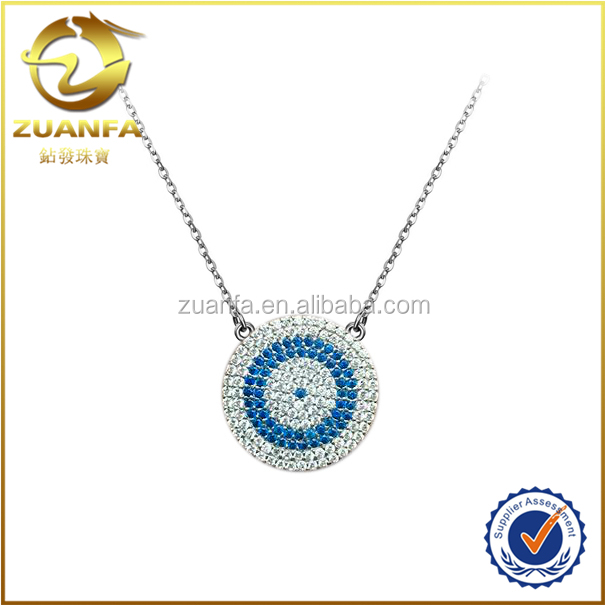 wholesale round shape simple necklace cubic zirconia paved evil eye jewelry
