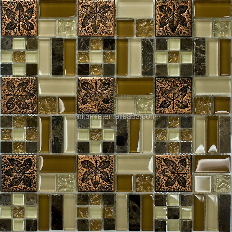 stone resin and glass material mixed mosaic leaf pattern interior wall tile