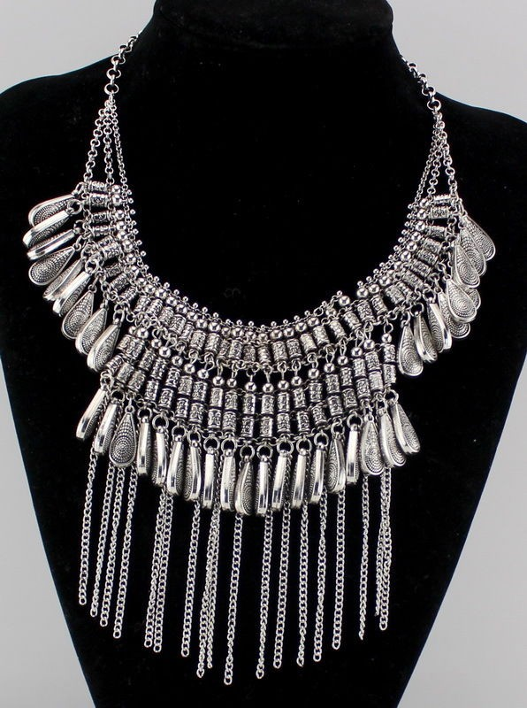 2016 New Layers Crystal Pendant Vintage Silver Wing Collar Statement Necklac