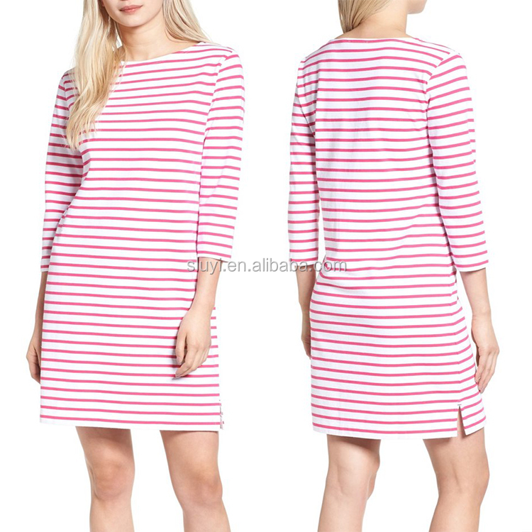 2017 plus size women clothing 4xl 5xl 6xl women casual mini short dress red stripe 100 organic cotton shift t shirt dresses