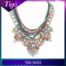 Luxurious bridesmaid jewelry crystal fashion statement necklace
