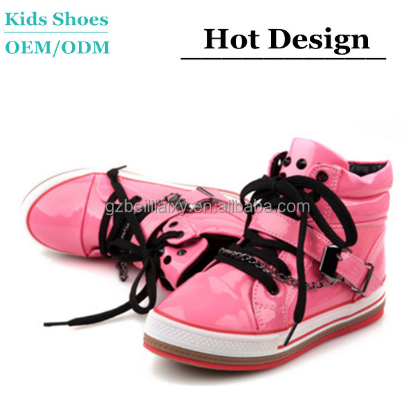 Hot Pink Shiny PU Uppers Sneakers Glory Girls Korean Style High Cut Sport Shoes Buckle Decorative Children's Casual Shoes