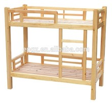 Simple double bed design in woods, solid wood plank bed, pine wood double decker bed