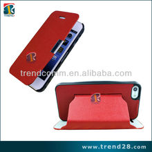 embedded front and back stand leather case for iphone5 with wallet design