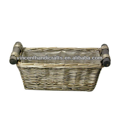 Vintage willow flower box with liner and wooden handles