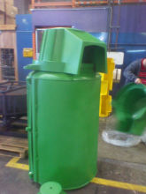 Green Can.. Clothing Recycling Donation Drop Bin
