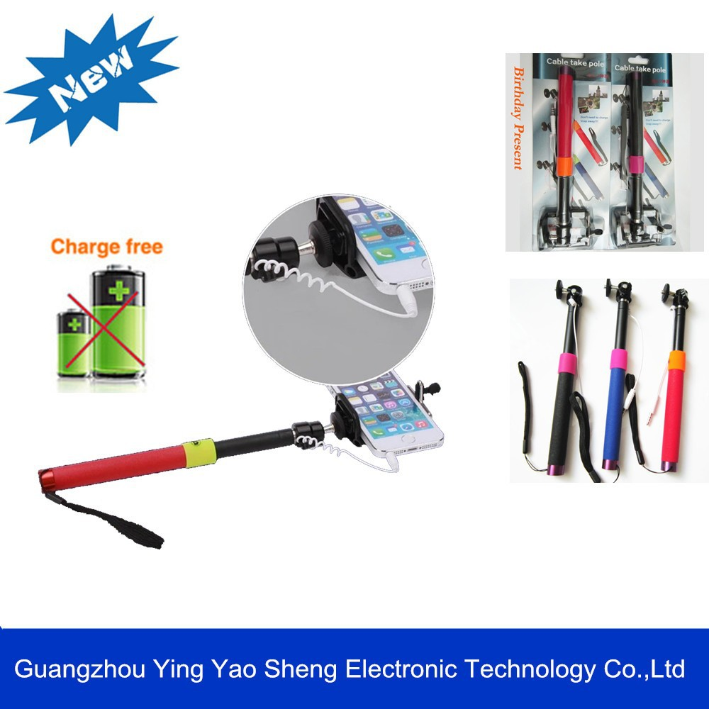 online-sale selfie stick with cable for iOS / Android, wired Monopod with blister Packing